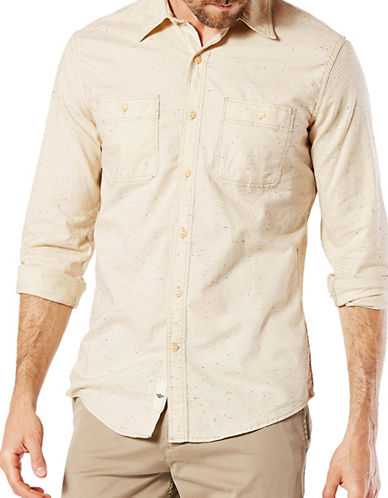 Dockers Chambray Sport Shirt-YELLOW-Medium