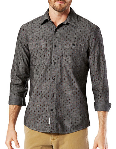 Dockers Chambray Sport Shirt-BLACK-Small