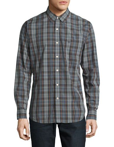 Dockers Plaid Button-Down Shirt-BLUE-Small