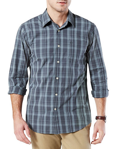 Dockers Casual Washed Poplin Cotton Button-Down Shirt-BLUE-Small