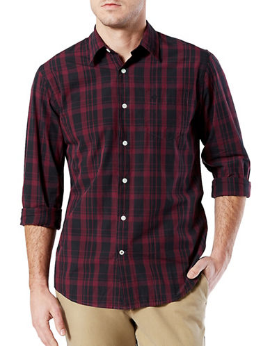 Dockers Plaid Cotton Sport Shirt-RED-Large