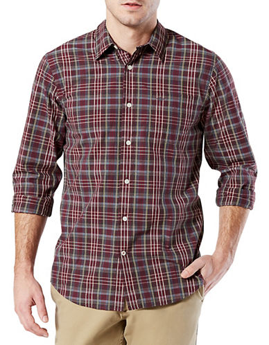 Dockers Plaid Casual Sport Shirt-RED-X-Large
