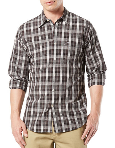Dockers Plaid Cotton Sport Shirt-GREY-Medium