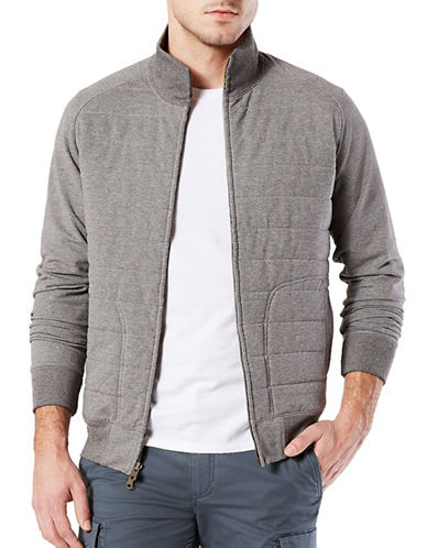 Dockers Quilted Zip-Up Sweater-GREY-Medium