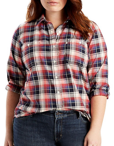 LeviS Plus Boyfriend Shirt-NAVY MULTI-1X