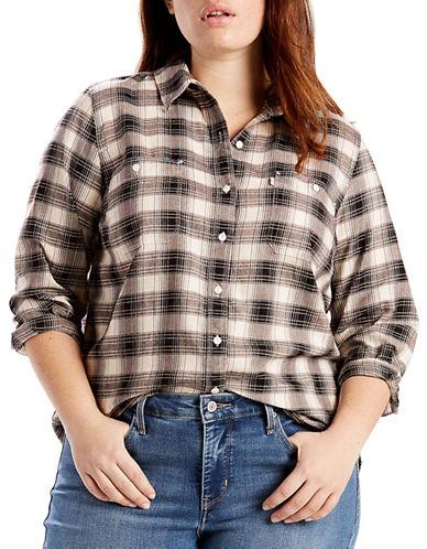 LeviS Plus Plaid Cotton Button-Down Shirt-OATMEAL-1X