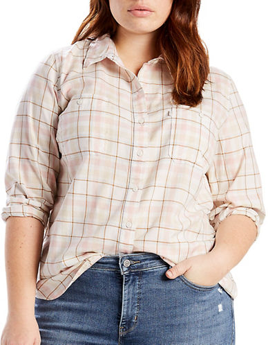 LeviS Plus Plaid Boyfriend Shirt-WHITE-1X