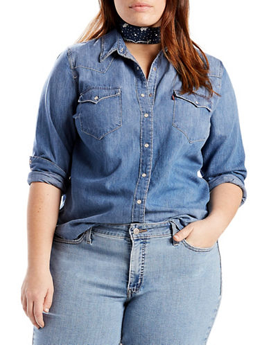 LeviS Plus Western Cotton Button-Down Shirt-BLUE-1X