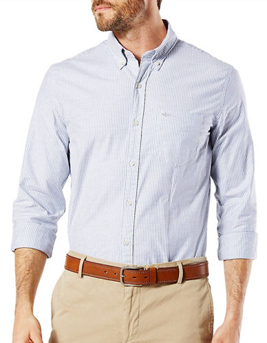 Dockers Stretch Cotton Oxford Shirt-BLUE-X-Large
