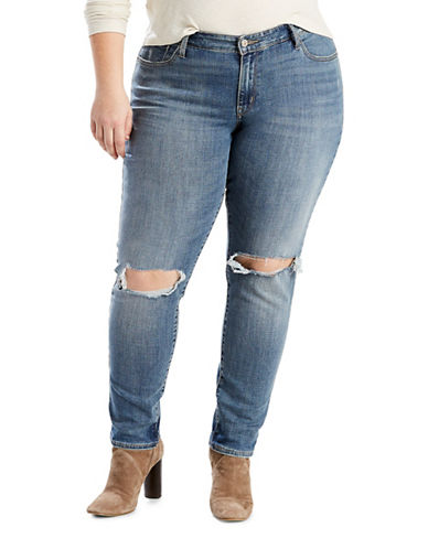 LeviS Plus 711 Plus Skinny Distressed Jeans-BLUE-18W