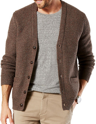 Dockers Honeycomb Wool-Blend Cardigan-BROWN-X-Large
