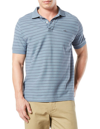 Dockers Striped Cotton Pique Polo-BLUE-Medium