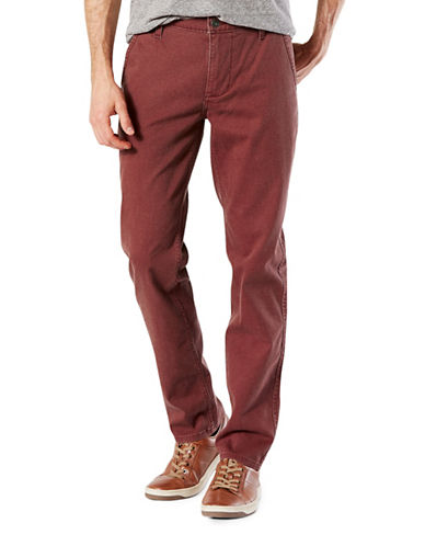 Dockers Slim Tapered-Fit Alpha Khaki Pants-RED-32X32