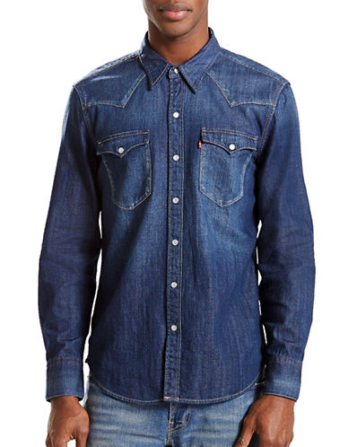 LeviS Barstow Western Cotton Casual Button-Down Shirt-DARK BLUE-Small