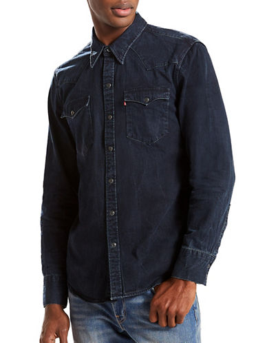 LeviS Barstow Western Cotton Casual Button-Down Shirt-BLUE/BLACK-Medium