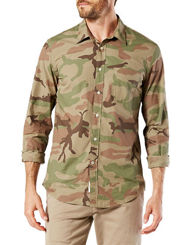 Dockers Camouflage Cotton Poplin Sport Shirt-GREEN-X-Large