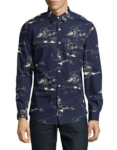 Dockers Printed Cotton Sportshirt-BLUE-Medium