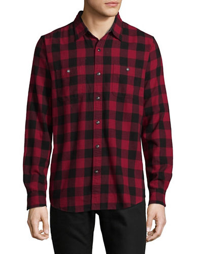 Dockers CDN Cotton Flannel Sport Shirt-RED-Small