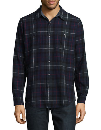 Dockers Flannel Long-Sleeve Sport Shirt-GREEN-Large