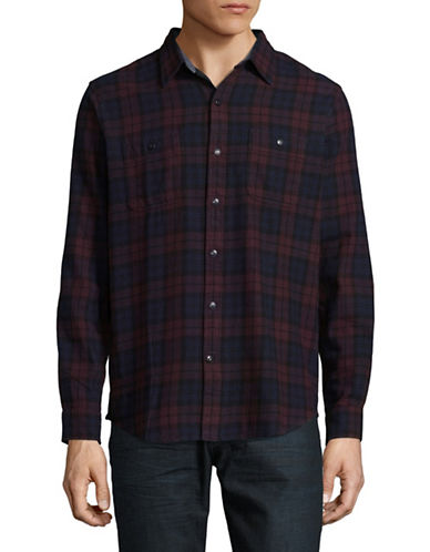Dockers Flannel Long-Sleeve Sport Shirt-BLUE-X-Large