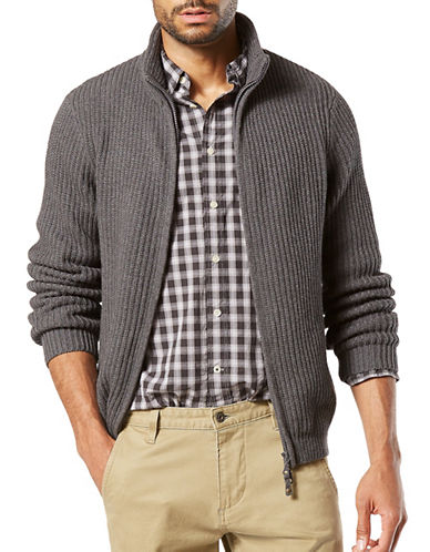 Dockers Mock Neck Cotton Sweater-GREY-Large