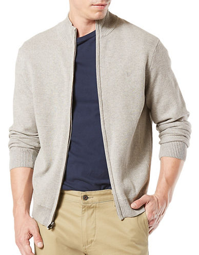 Dockers Heather Full Zip Cotton Jacket-LIGHT GREY-Medium
