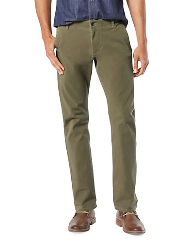 Dockers Olive Slim Alpha Khaki Smart Pants-GREEN-34X30