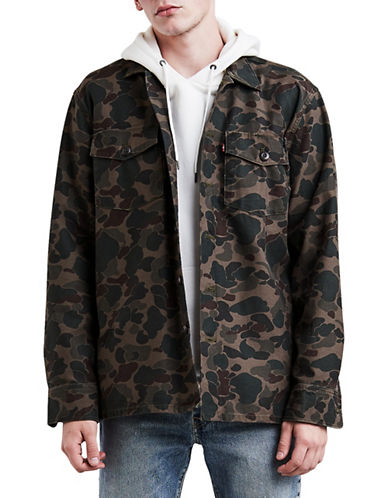 LeviS Military Camo Button-Front Shacket-GREEN-X-Large