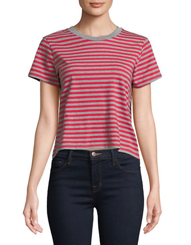 LeviS Stripe Cotton Cropped Tee-RED-Medium