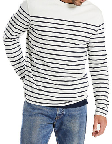 LeviS Mission Anchor Stripe Long-Sleeve Cotton Tee-WHITE-Medium