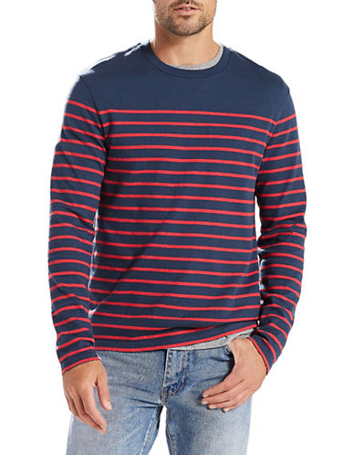LeviS Mission Anchor Stripe Long-Sleeve Cotton Tee-NAVY-Large