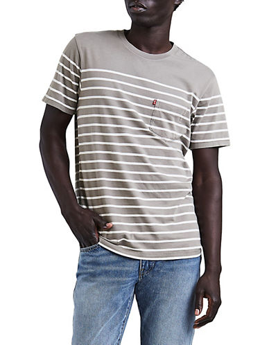 Levi'S Striped Cotton T-Shirt-GREY-X-Large 90060478_GREY_X-Large