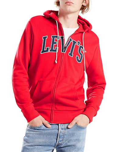 LeviS Fleece Cotton Zip Hoodie-RED-Small