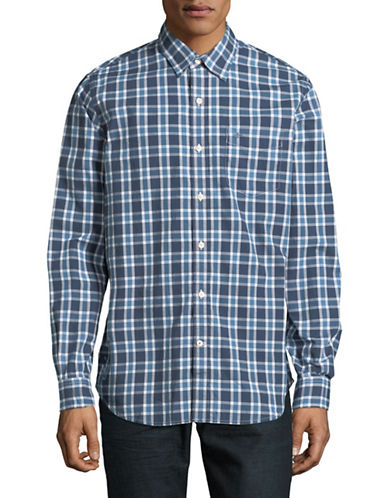 Dockers Plaid Washed Poplin Sportshirt-BLUE-Large
