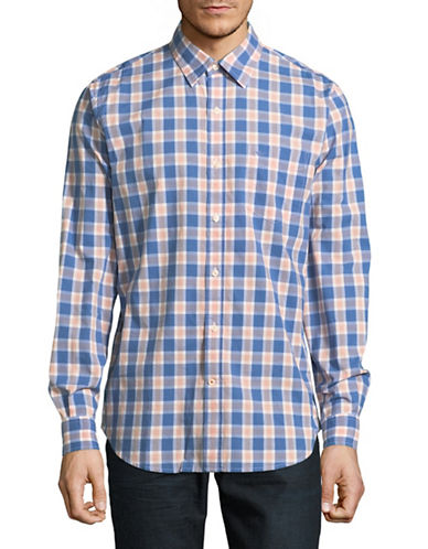 Dockers Plaid Washed Poplin Cotton Sport Shirt-PINK-X-Large