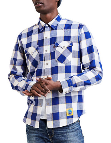 LeviS Golden State Warriors Plaid Western Cotton Sport Shirt-BLUE-Small