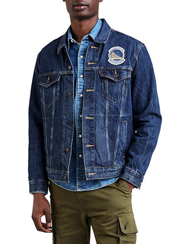 LeviS Golden State Warriors Denim Trucker Jacket-BLUE-XX-Large