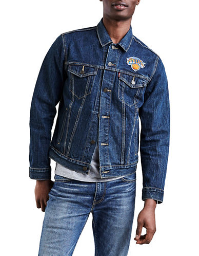 LeviS New York Knicks Denim Trucker Jacket-BLUE-Large