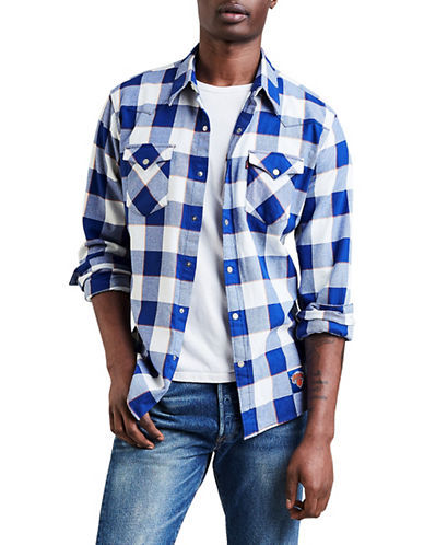 LeviS New York Knicks Plaid Western Cotton Sport Shirt-BLUE-Medium