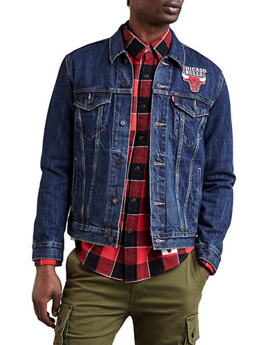 LeviS Chicago Bulls Denim Trucker Jacket-BLUE-X-Large