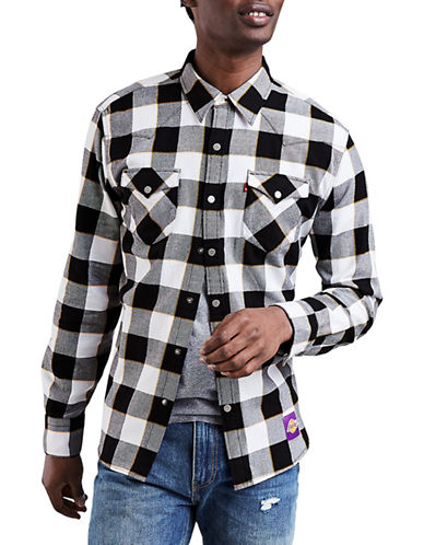 LeviS Los Angeles Lakers Plaid Western Cotton Sport Shirt-BLACK-Medium