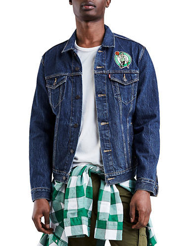 LeviS Boston Celtics Denim Trucker Jacket-BLUE-Large