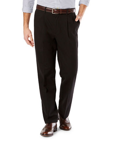 Dockers Classic-Fit Signature Stretch Pleated D3 Pants-BLACK-34X34