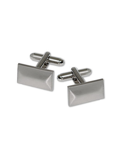 Hudson Room Bevelled Rectangle Cufflinks-SILVER-One Size