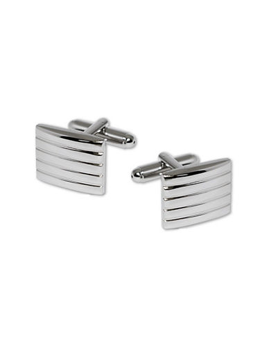 Hudson Room Rectangle Ribbed Detail Cufflinks-SILVER-One Size
