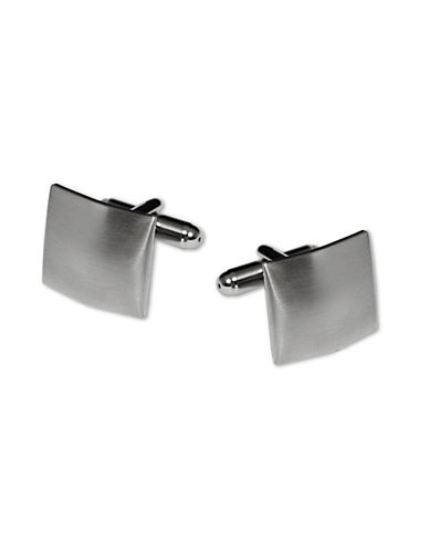 Hudson Room Square Domed Shaped Cufflinks-SILVER-One Size
