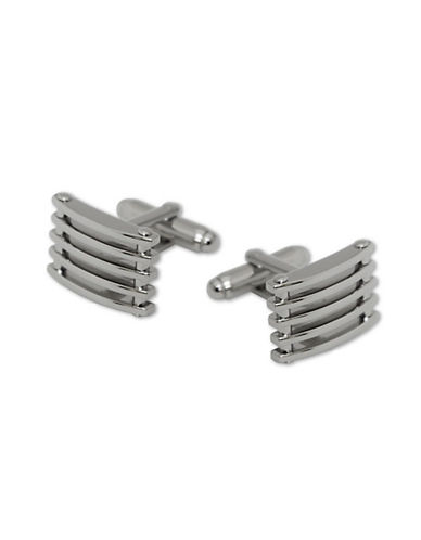 Hudson Room Rectangle Open Grill Cufflinks-SILVER-One Size