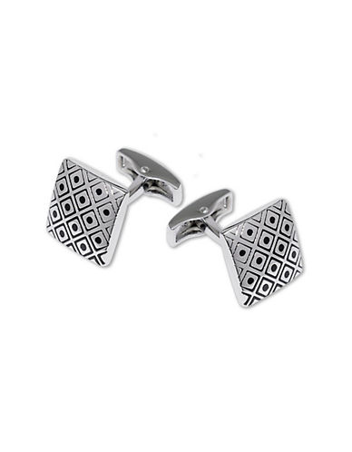 Hudson Room Etched Center Dot Cufflinks-SILVER-One Size