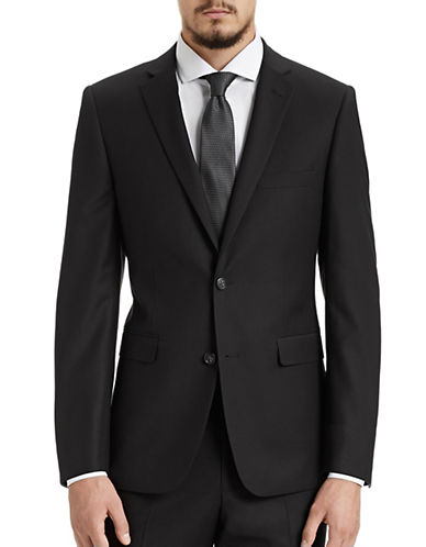 1670 Slim Fit Black Suit Jacket-BLACK-44 Tall