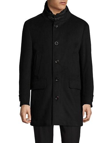 Black Brown 1826 Wool-Blend Overcoat-BLACK-42